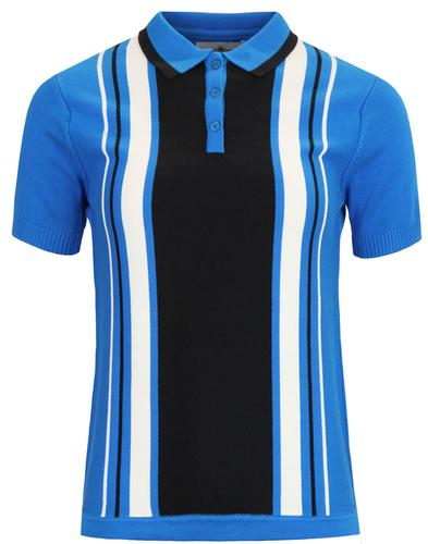 madcap england fable 60s mod stripe knit polo blue