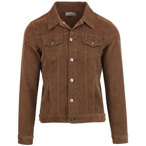 Madcap England Woburn Retro Mod Cord Western Jacket in Cocoa Brown