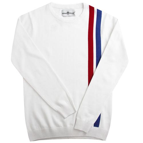 Madcap England Women's Mod Pop Art Knitted Racing Jumper in White