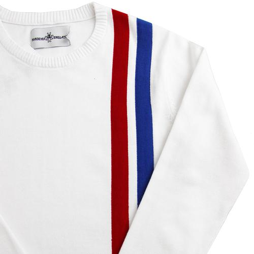 Madcap England Women's 1960s Mod Knitted Racing Jumper in White