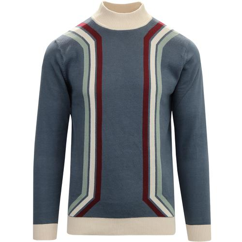 madcap england mens retro mod waffle textured funnel neck stripe jumper orion blue