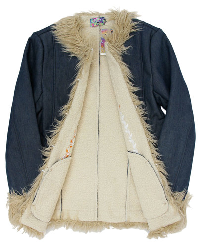 Details about NEW MADCAP ENGLAND MENS RETRO 60s AFGHAN COAT in DENIM Jacket Sixties Mod MC269