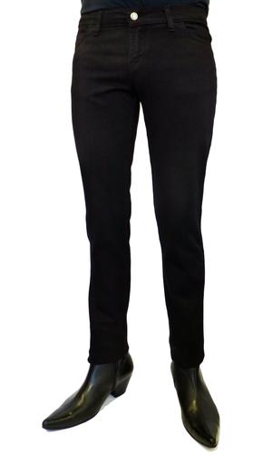 NEW RETRO DRAINPIPE JEANS Mens Skinny Jeans BLACK 50s 60s 70s MOD
