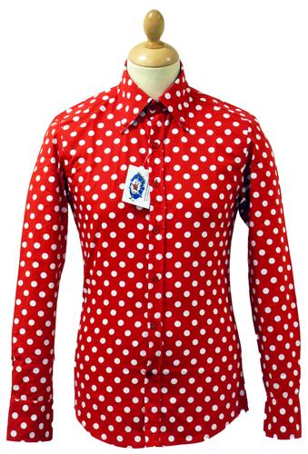 New sixties mens retro mod penny dot polka dot shirt for White red polka dot shirt