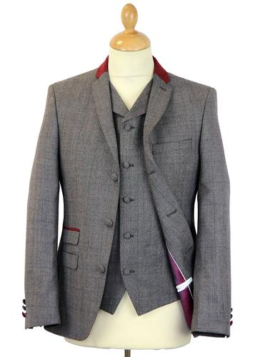 MADCAP ENGLAND MOD RETRO SUIT CHECK RED GREY