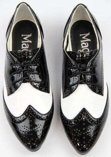 Buy womens black and white brogue shoes