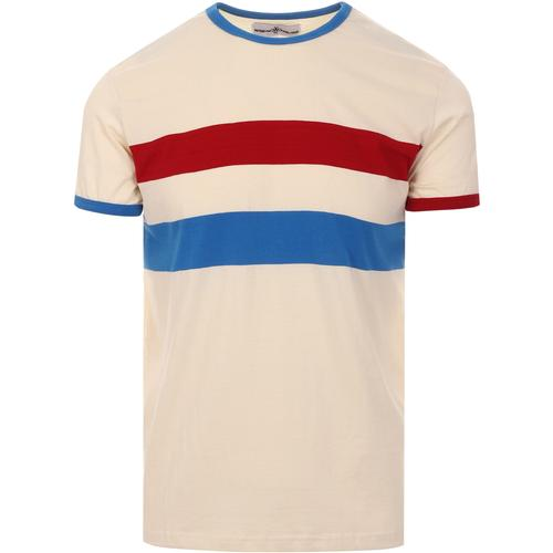 madcap england mens bedford chest stripes ringer neck tshirt white swan