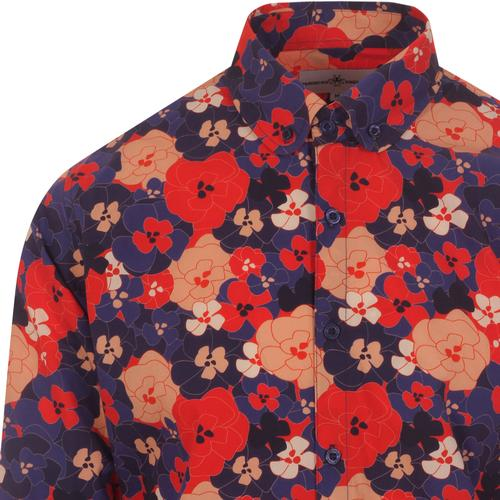 madcap england mens bold floral print long sleeve shirt blue red