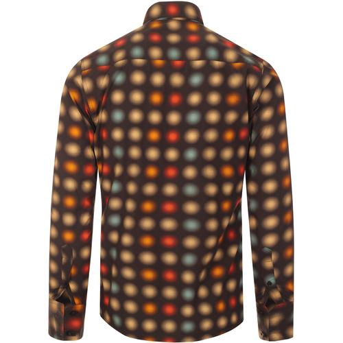 madcap england mens spear collar long halftone optical dots print sleeve shirt brown