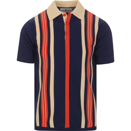 madcap england mens vertical stripes knitted polo tshirt beacon blue orange