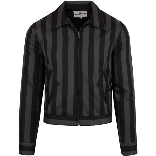 madcap england mens vertical stripes collared zip jacket black grey