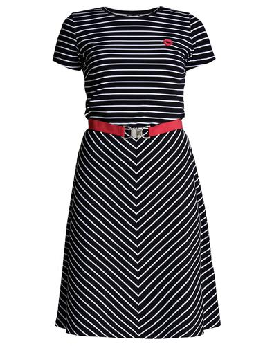 Adriane MADEMOISELLE YEYE Mod Stripe Chevron Dress