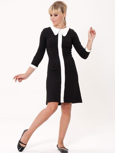 MADEMOISELLE YEYE 60s Mod A-Line Vintage Dress In Black