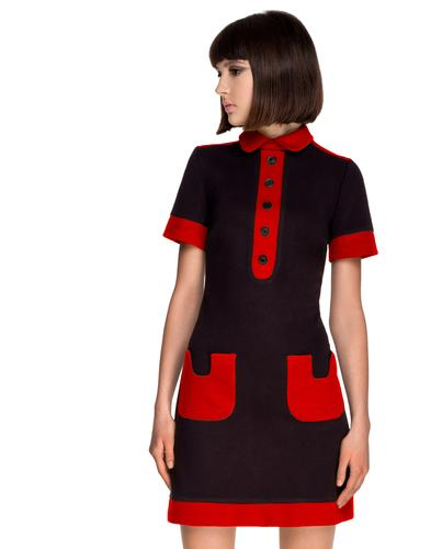 MARMALADE 1960s Mod Contrast Pocket Polo Dress B/R