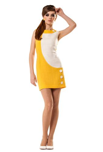 Marmalade Retro Mod Linen Fitted Mini Dress With Buttons