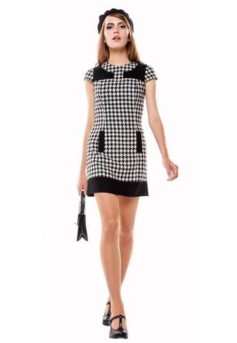 Marmalade Houndstooth Retro Sixties Mod Fitted Mini Dress