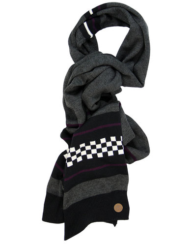Knitted 2tone Check Ska Scarf