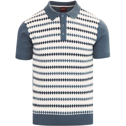 Merc Mens Stirling Black Knitted Vintage Mod Polo Shirts
