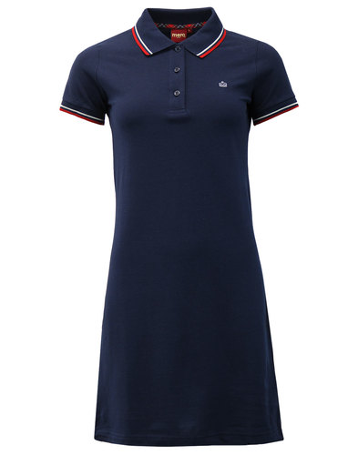 Kara MERC Retro Mod Tipped Pique Polo Dress NAVY