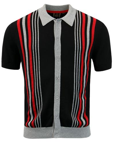 Nutley MERC Mod Stripe Knit Polo Cardigan BLACK