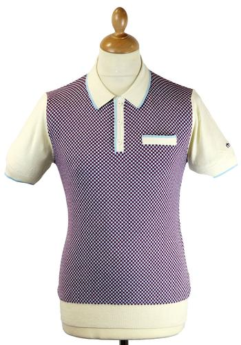 Olsen MERC Retro Mod Checkerboard Knit Polo Top C
