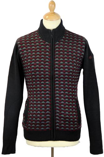 MERC RETRO MOD GEOMETRIC ZIP THROUGH BLACK