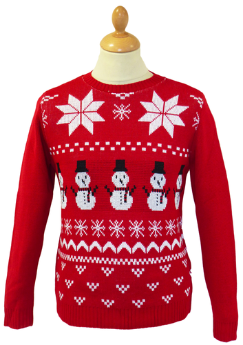 Christmas Xmas JUMPER vtg indie retro 80/'s snowmen novelty festive red Snowman