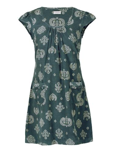 NOMADS RETRO 60S CORD PINAFORE DRESS GREEN
