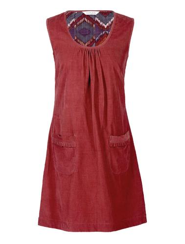 NOMADS RETRO 60S CORD PINAFORE DRESS MARMALADE