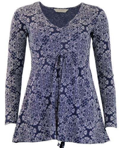 NOMADS RETRO 60s PAISLEY TUNIC TOP BLUE