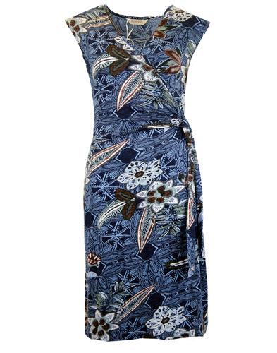 NOMADS Retro Floral V-Neck Dress with Side Tie
