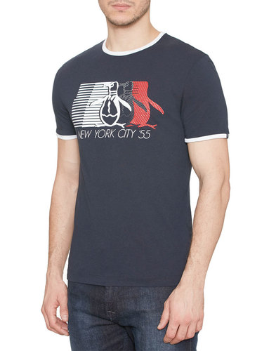 ORIGINAL PENGUIN Men's Retro 70s NYC T-Shirt Navy