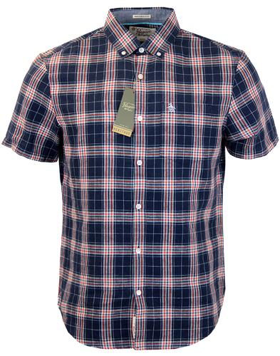 ORIGINAL PENGUIN Retro Linen Plaid Check SS Shirt
