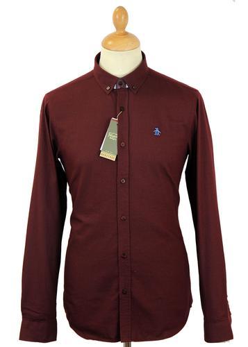 Original Penguin Retro 60s Mod Button Down Shirt In Tawny Port