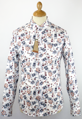 9762057f ORIGINAL PENGUIN Floral Chambray Retro 60s Mod Shirt Silver Birch