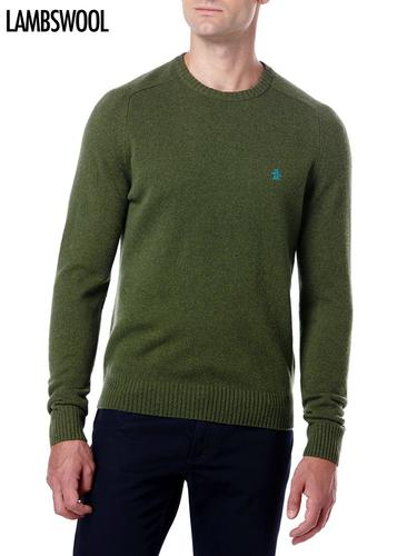 ORIGINAL PENGUIN RETRO MOD RIFLE GREEN LAMBSWOOL