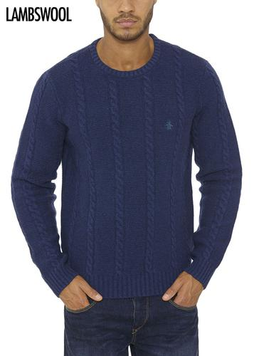ORIGINAL PENGUIN RETRO MOD CABLE KNIT JUMPER BLUE