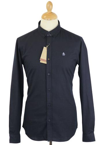 Original Penguin Retro 60s Mod Button Down Shirt In Dark