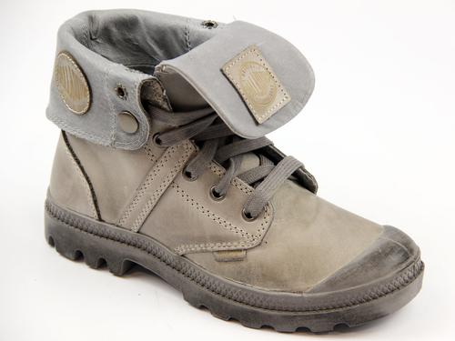 PALLADIUM BOOTS WOMENS LEATHER BAGGY GREY