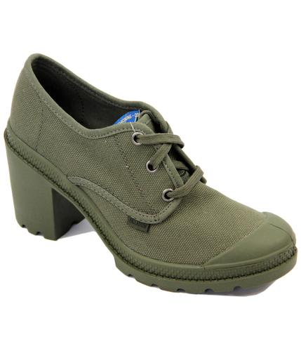 PALLADIUM RETRO WOMENS OXFORD HEEL SHOES OLIVE