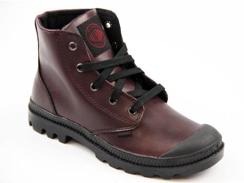 PALLADIUM BOOTS WOMENS RETRO PAMPA LEATHER RED