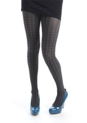+ PAMELA MANN Retro 60s Mod Opaque Dogtooth Tights