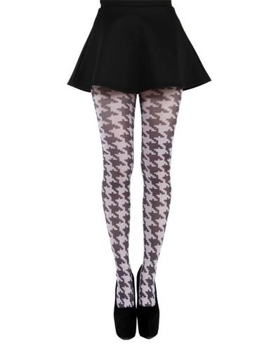 + PAMELA MANN Retro 60s Mod Dogtooth Tights