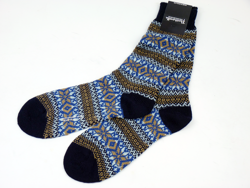Pantherella Ellery Retro Fair Isle Merino Wool Socks | Mens Socks