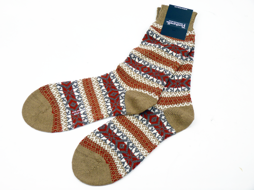 Patherella Ellery Retro 70s Fair Isle Merino Wool Socks in Camel
