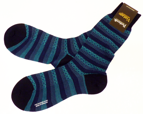 PANTHERELLA Fair Isle Socks | Retro Sixties Mod Fine English Socks