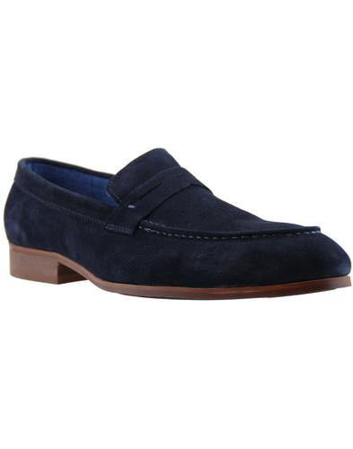 Travon PAOLO VANDINI Mod Suede Penny Loafers NAVY