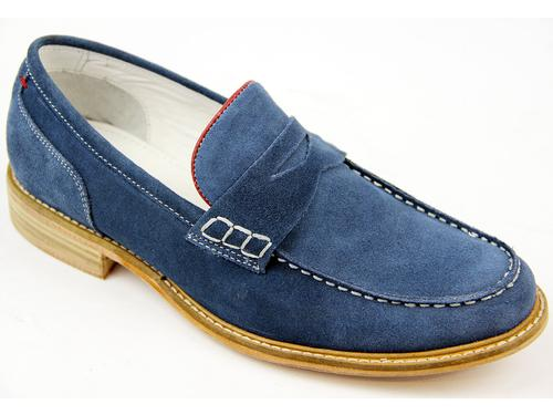 Stagger PAOLO VANDINI Retro Mod Blue Suede Loafers