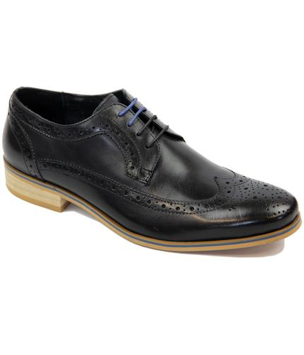 PAOLO VANDINI RETRO MOD BROGUES SHOES BLACK