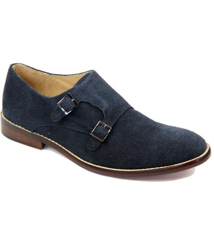 PAOLO VANDINI RETRO MOD MONK STRAP SHOES NAVY